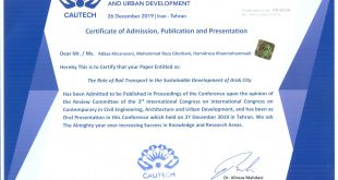 اکسپت مقاله پذیرش شده در سومین کنگره بین المللی عمران،معماری و شهرسازی معاصر